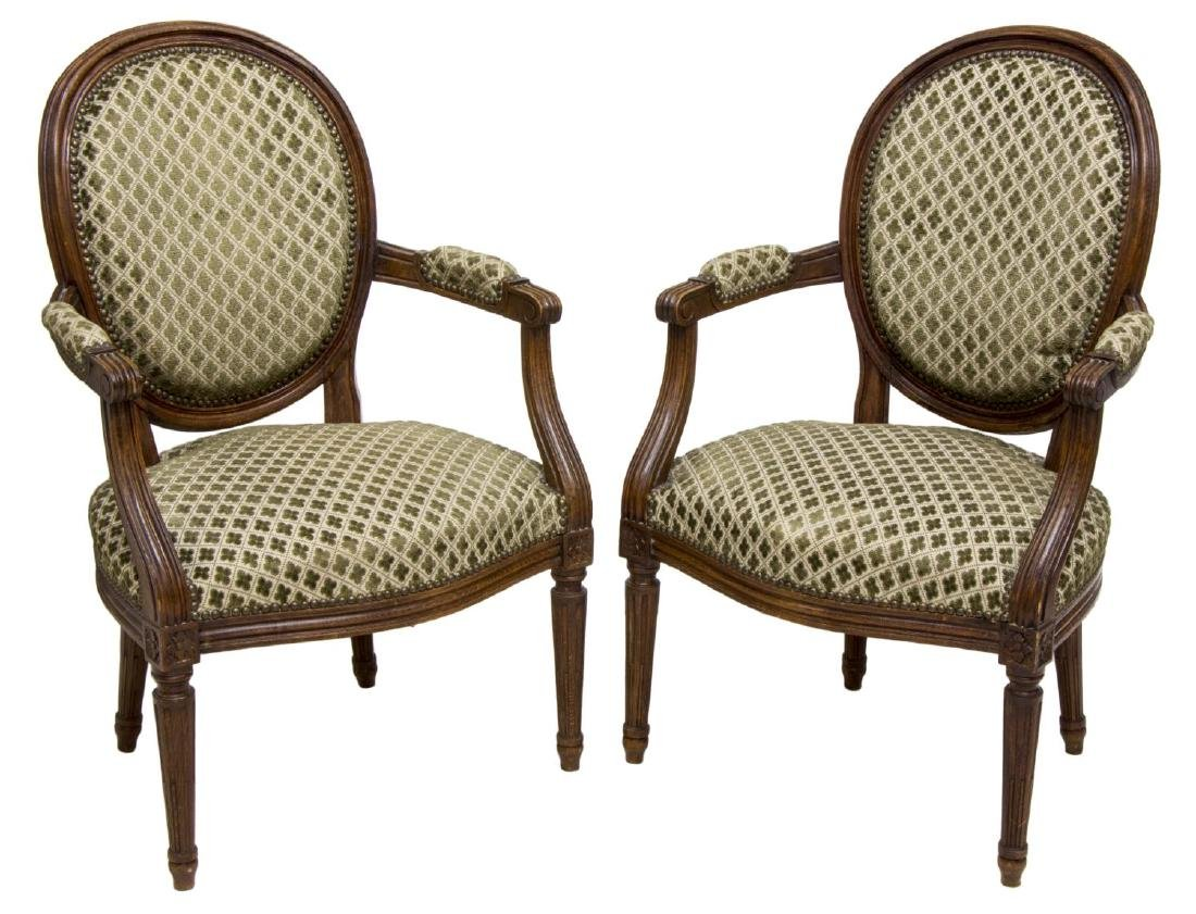 (2) LOUIS XVI STYLE UPHOLSTERED ARMCHAIRS