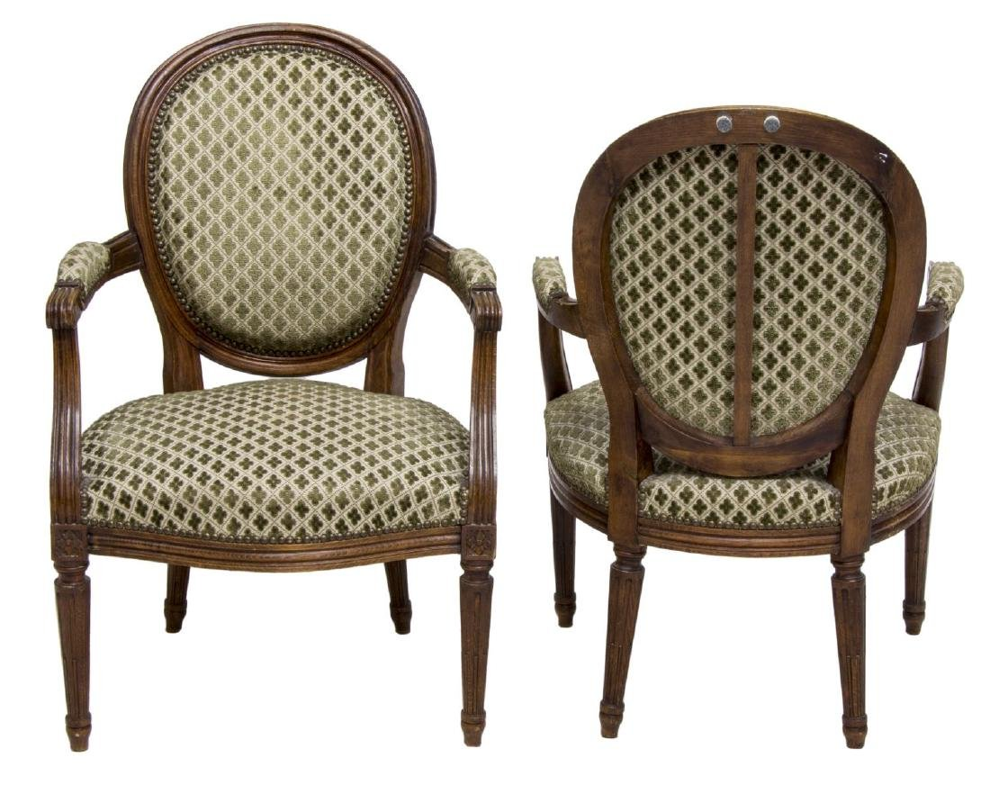 (2) LOUIS XVI STYLE UPHOLSTERED ARMCHAIRS - 2