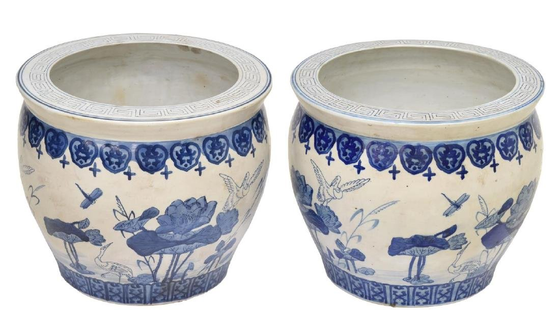 (PAIR) CHINESE BLUE & WHITE PORCELAIN FISH BOWLS