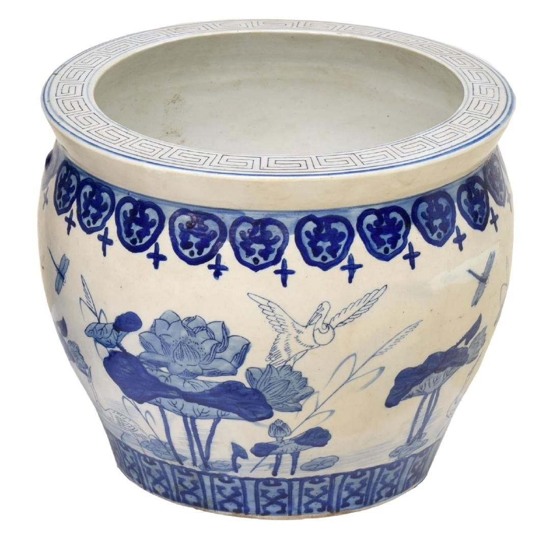 (PAIR) CHINESE BLUE & WHITE PORCELAIN FISH BOWLS - 2