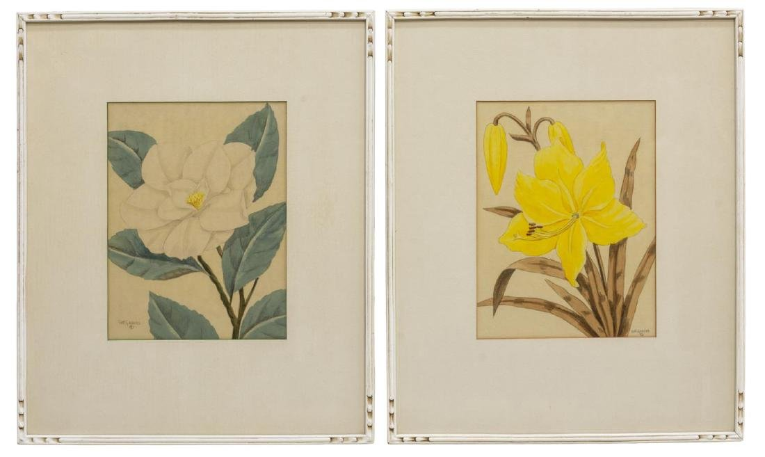 (2) SHIRRELL GRAVES (1894-1954) FLORAL WATERCOLORS
