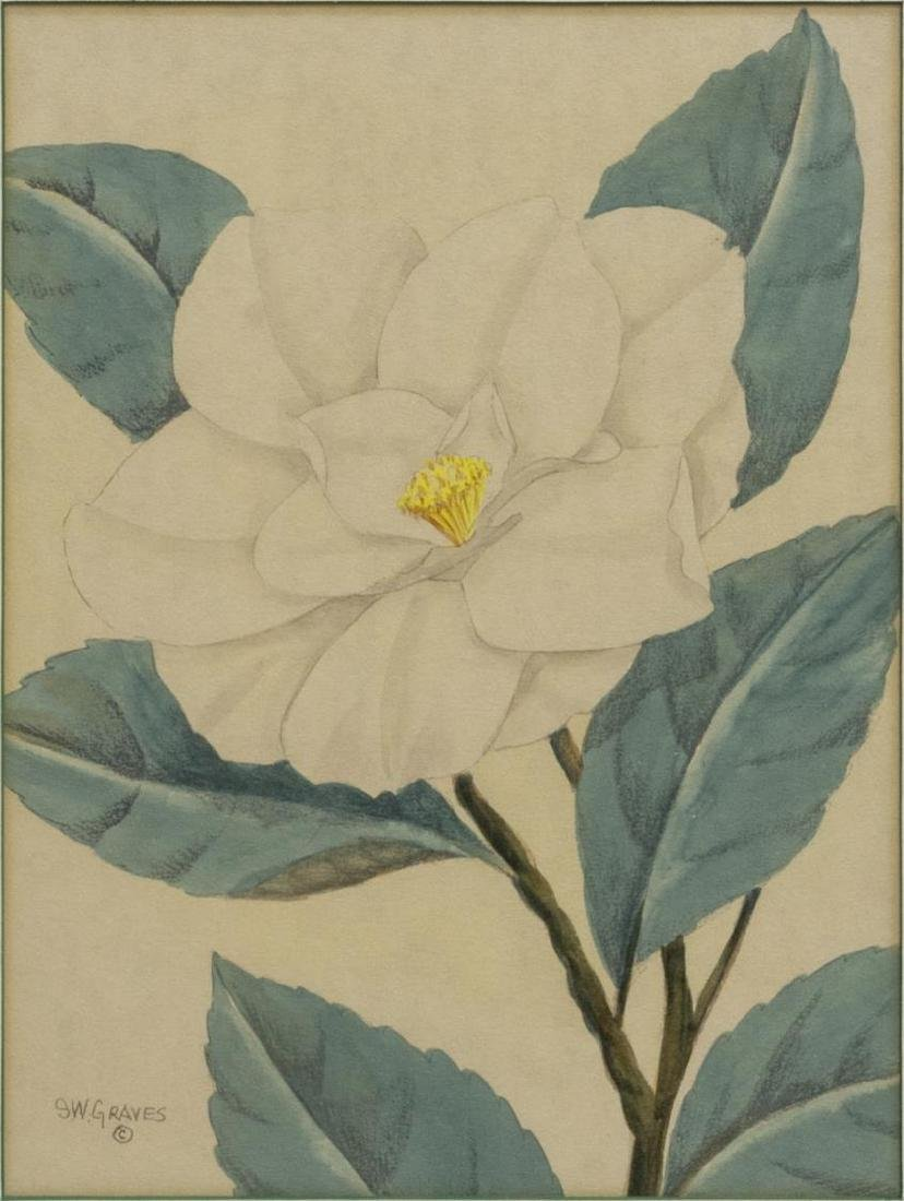 (2) SHIRRELL GRAVES (1894-1954) FLORAL WATERCOLORS - 2