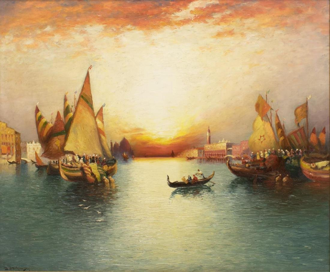 SIGNED OIL PAINTING, VENICE HARBOR