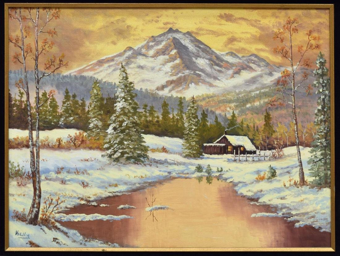 SIGNED PAINTING, CABIN IN SNOW, MOUNTAINS