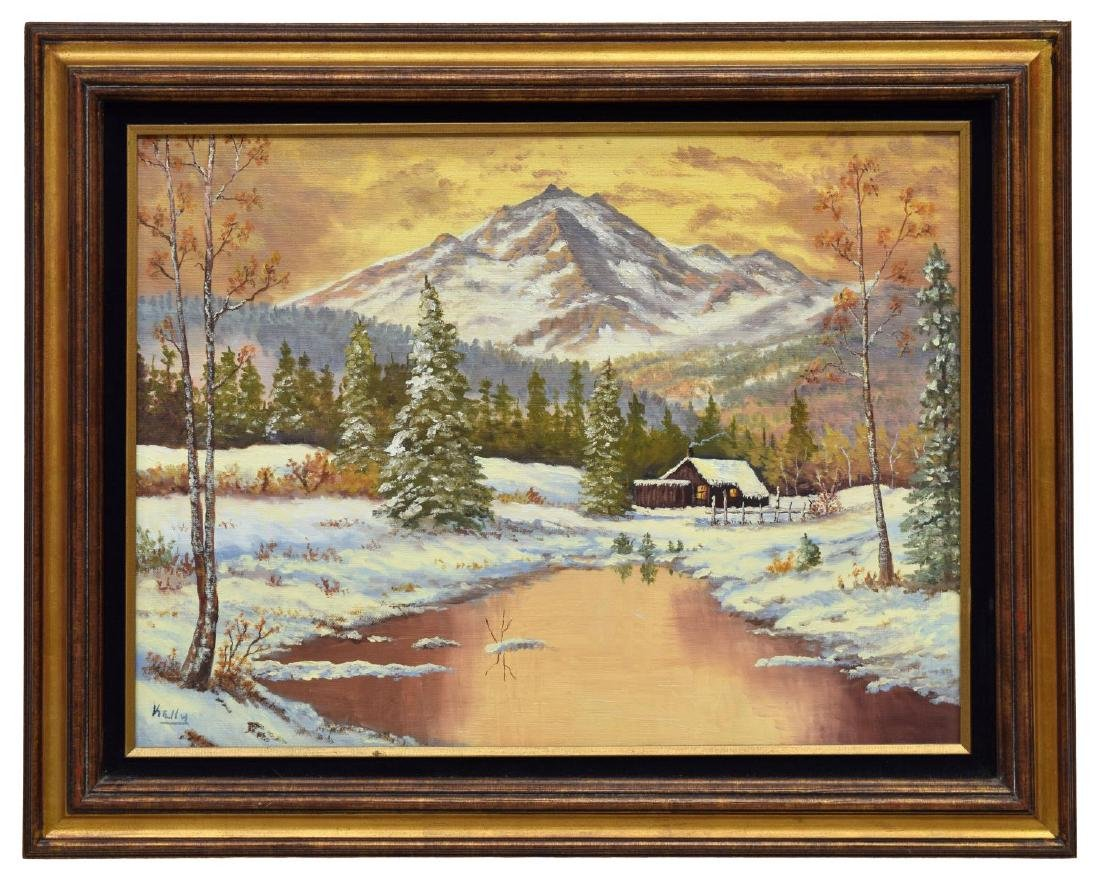 SIGNED PAINTING, CABIN IN SNOW, MOUNTAINS - 2