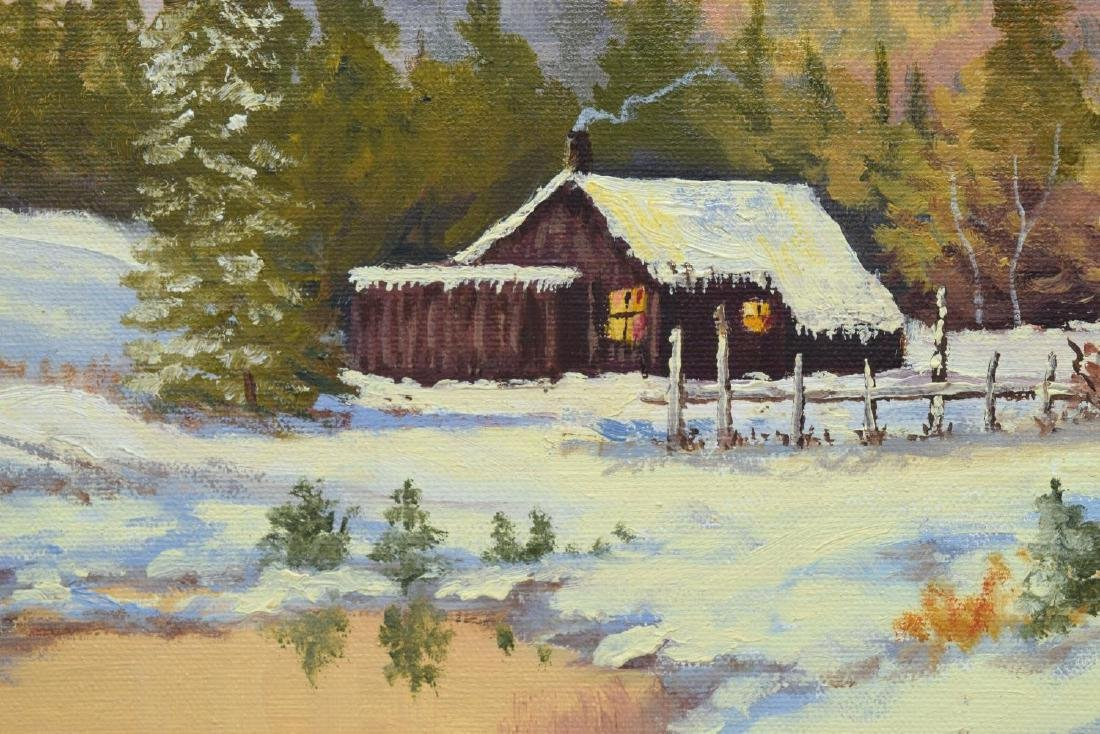 SIGNED PAINTING, CABIN IN SNOW, MOUNTAINS - 3