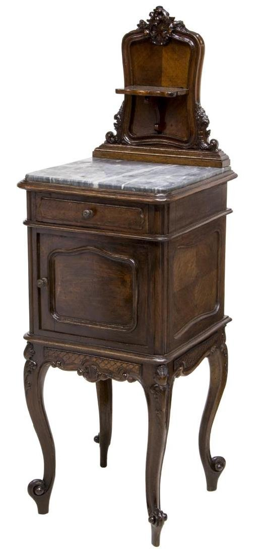ITALIAN ROCOCO BEDSIDE CABINET WITH MARBLE TOP