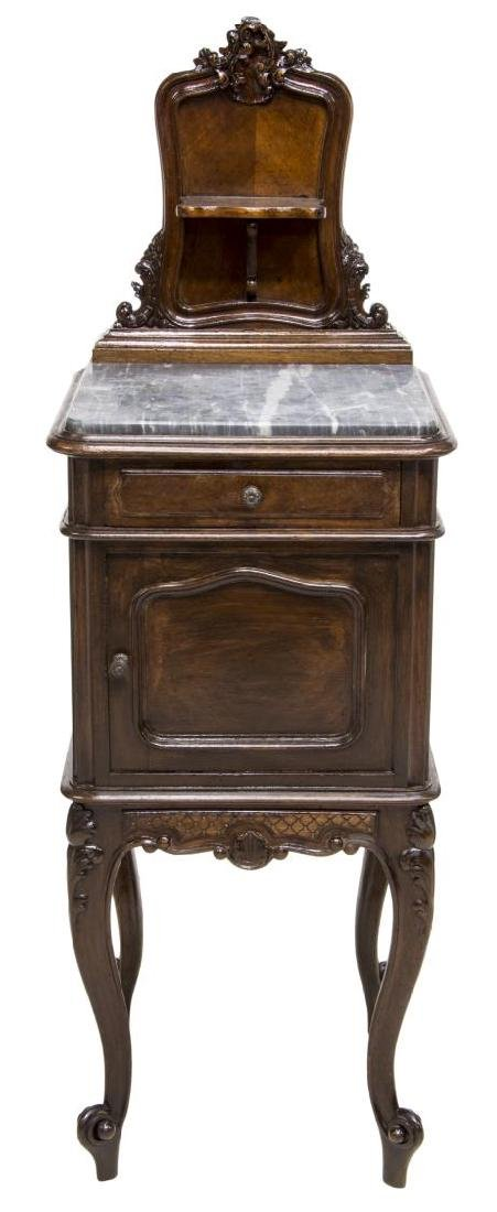 ITALIAN ROCOCO BEDSIDE CABINET WITH MARBLE TOP - 2