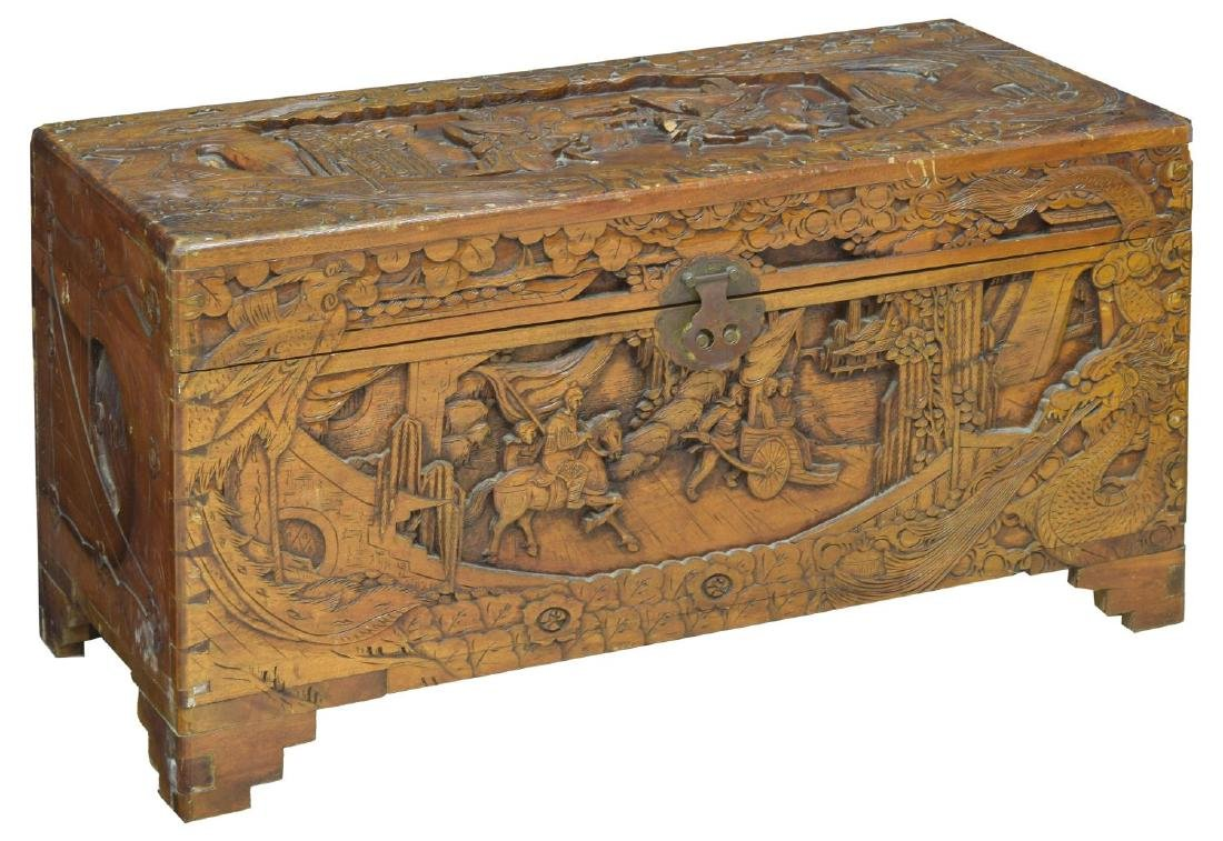 CHINESE CARVED CAMPHOR WOOD TRUNK OR CHEST