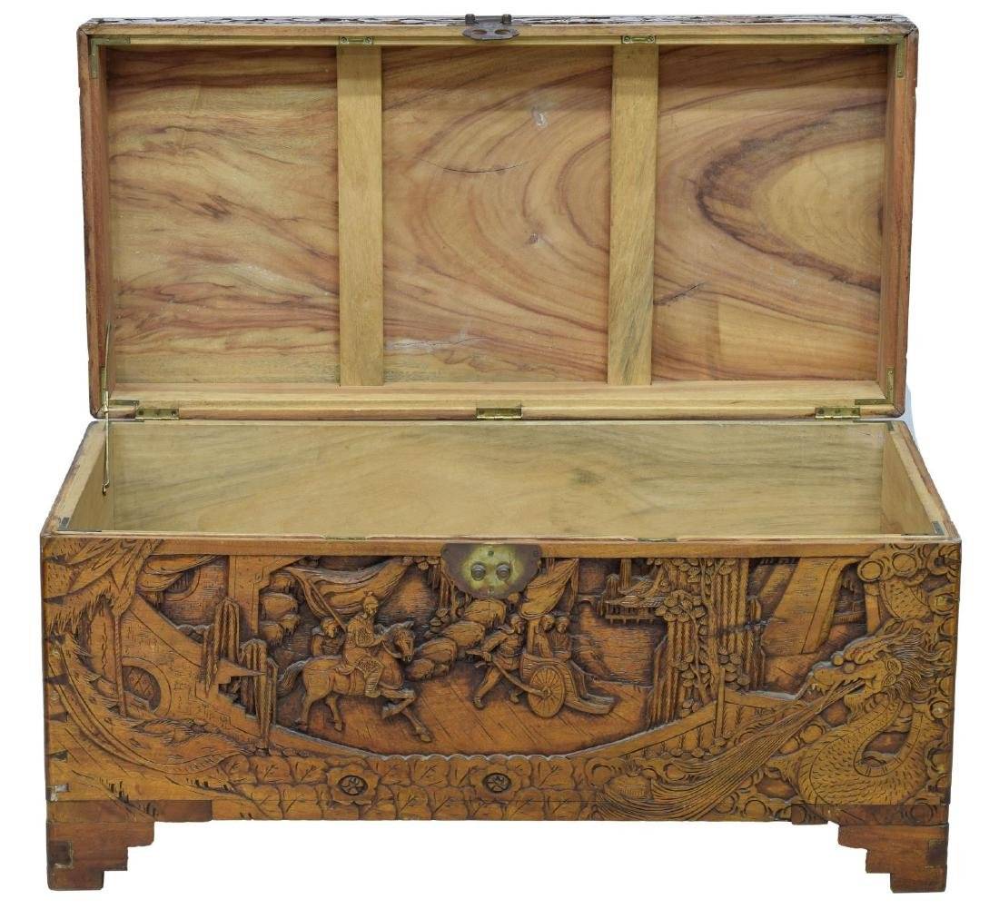 CHINESE CARVED CAMPHOR WOOD TRUNK OR CHEST - 2