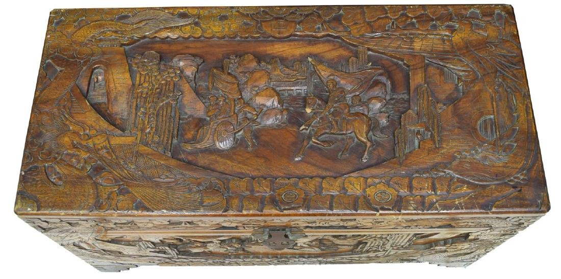 CHINESE CARVED CAMPHOR WOOD TRUNK OR CHEST - 3