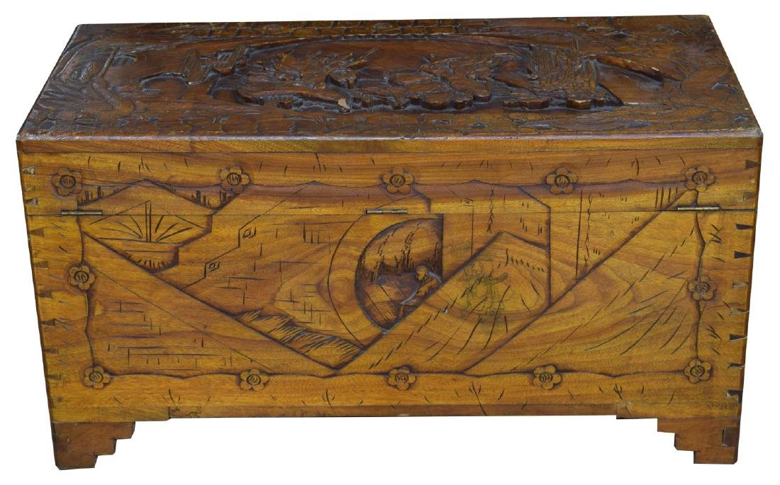 CHINESE CARVED CAMPHOR WOOD TRUNK OR CHEST - 5