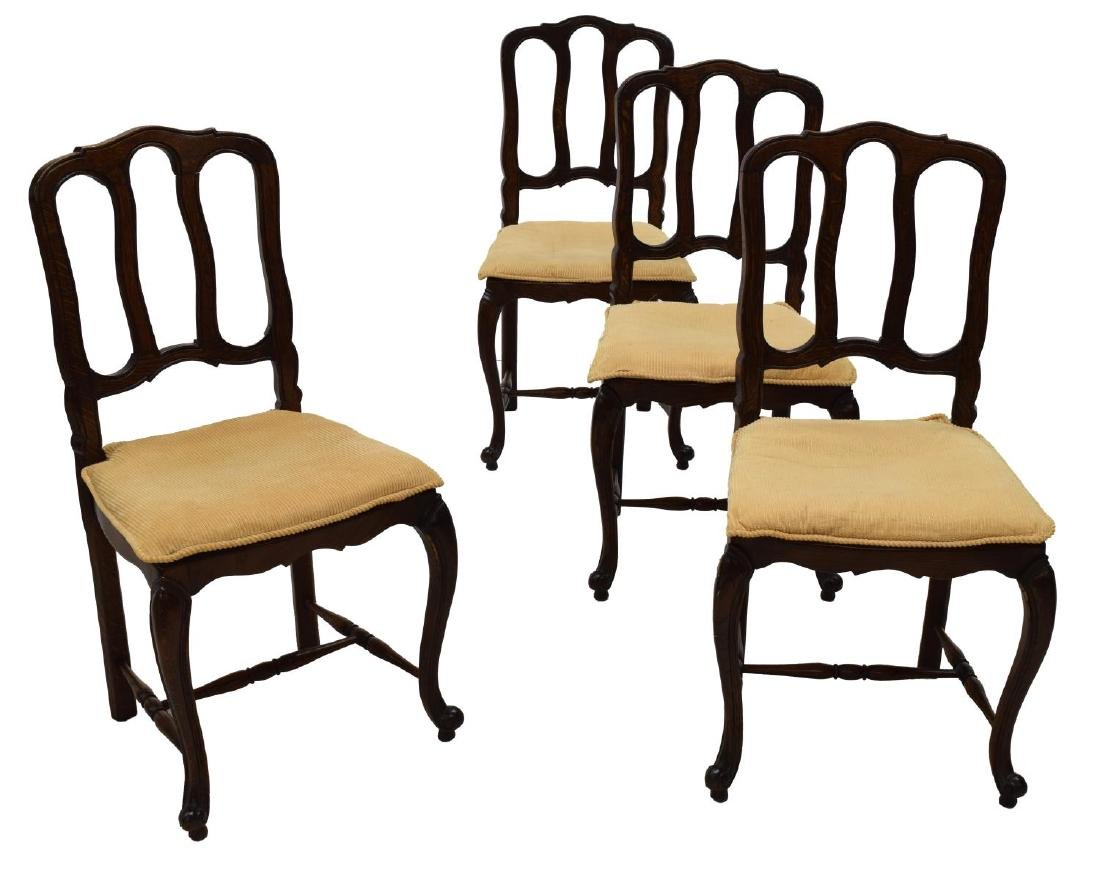 (4) COUNTRY FRENCH OAK DINING CHAIRS