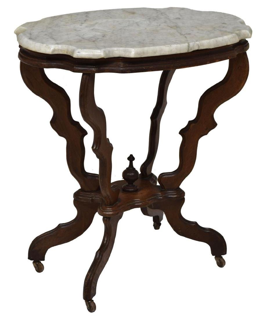 AMERICAN VICTORIAN MARBLE TOP LAMP TABLE