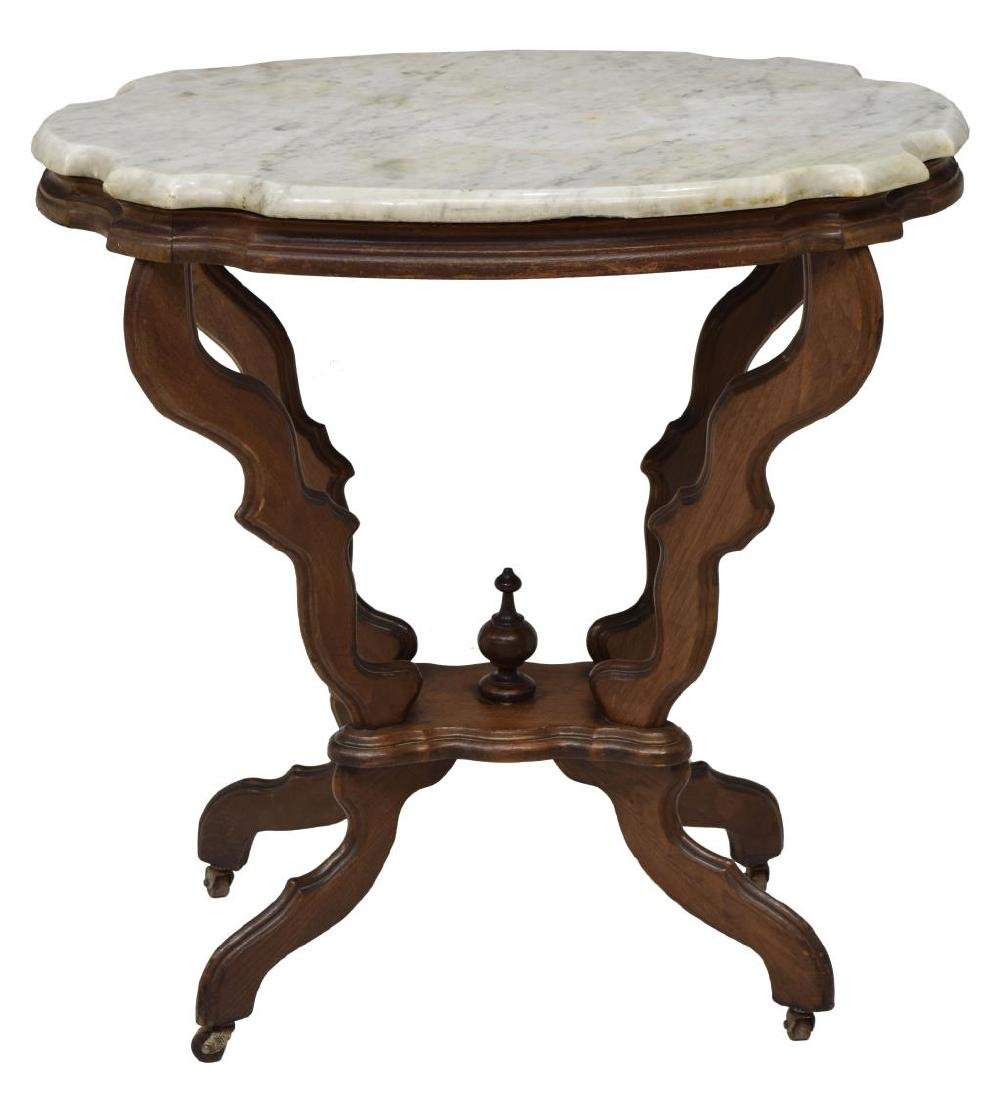 AMERICAN VICTORIAN MARBLE TOP LAMP TABLE - 2