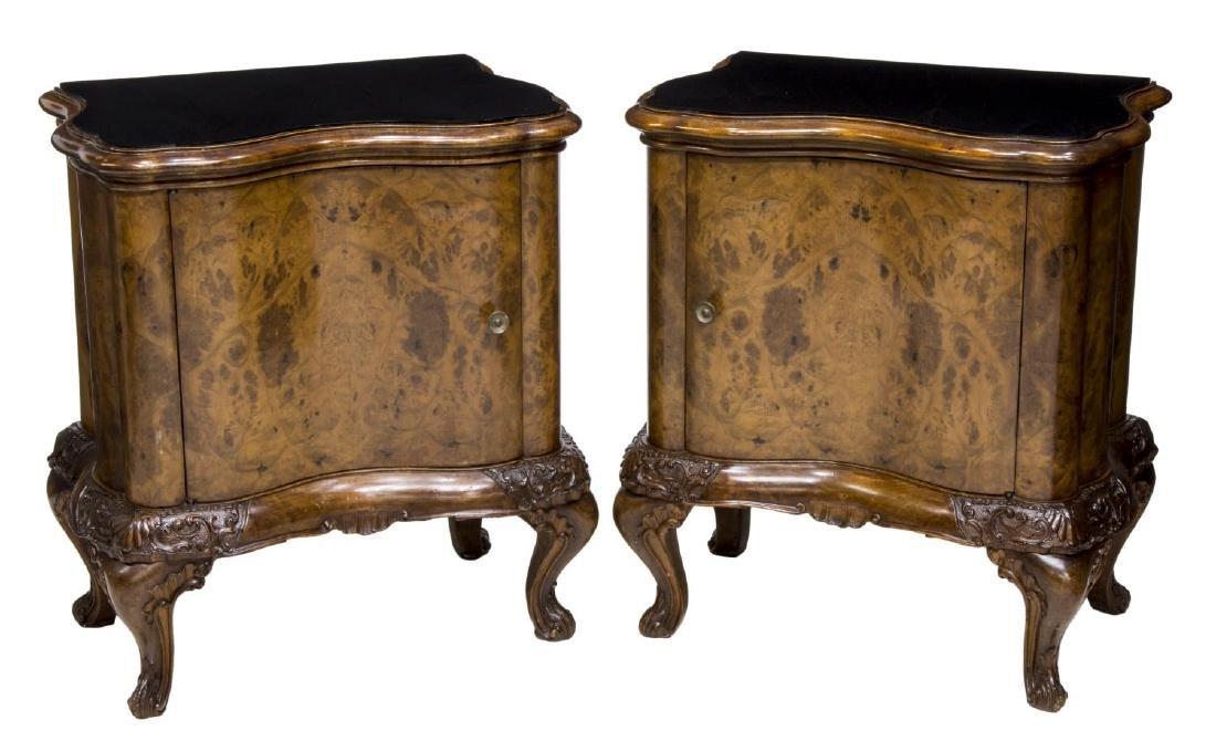 (2) VENETIAN BURL WOOD GLASS TOP BEDSIDE CABINET