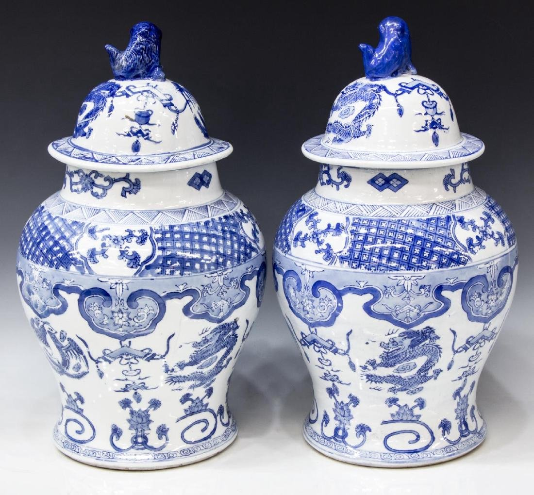 (2) CHINESE BLUE & WHITE PORCELAIN TEMPLE JARS - 2
