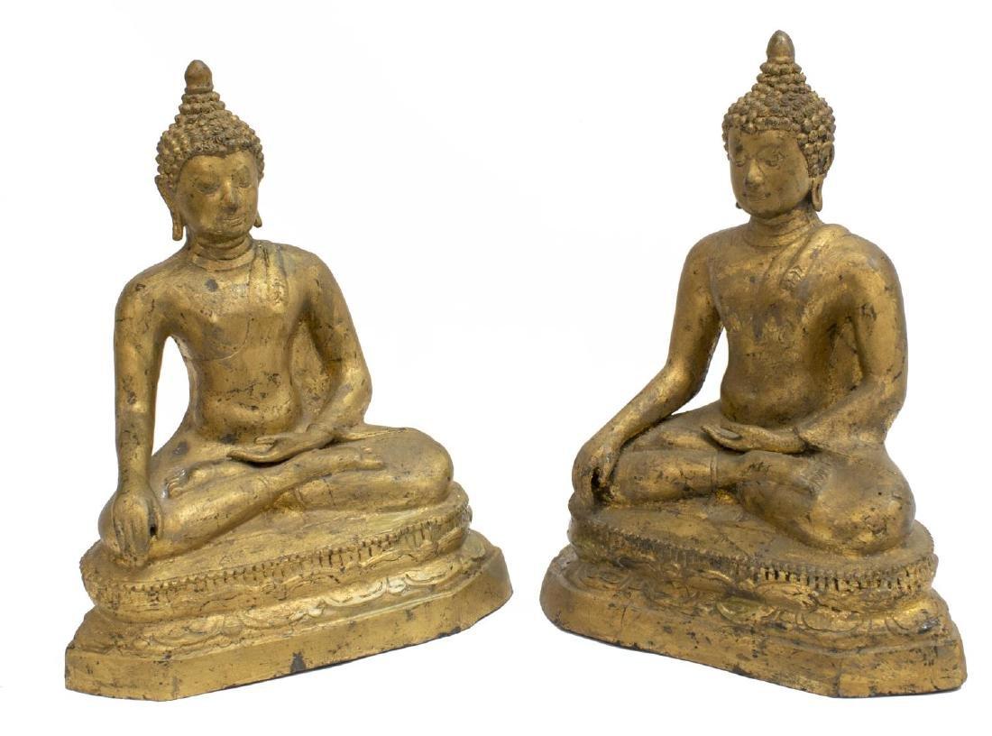 (2) GILT METAL SEATED EARTH TOUCHING BUDDHA
