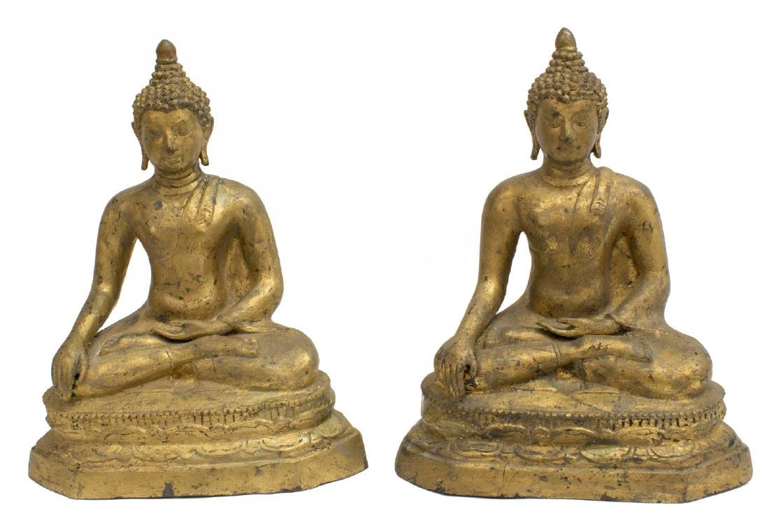 (2) GILT METAL SEATED EARTH TOUCHING BUDDHA - 2