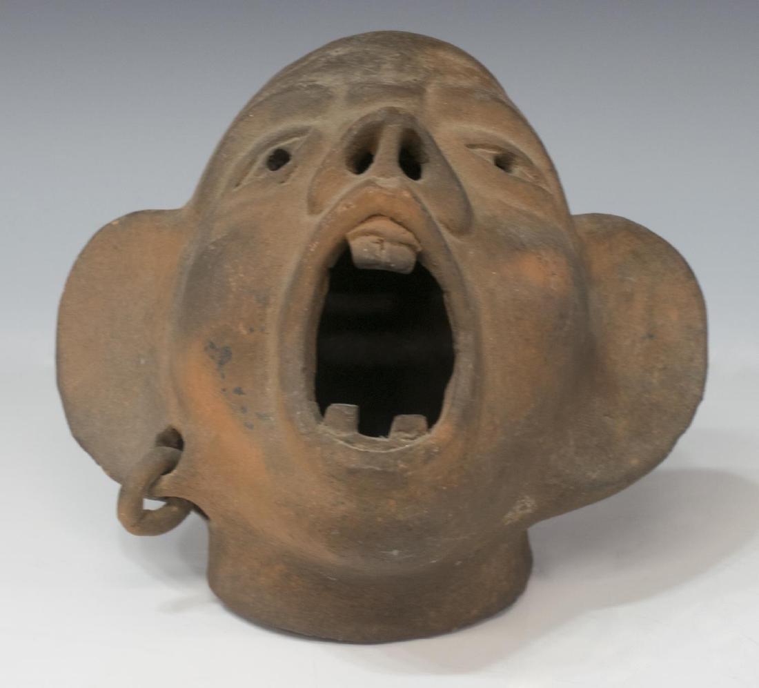 (2) GROTESQUE FACE SCULPTURES - 4