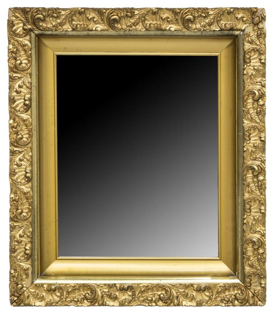 ROCAILLE & SHELL GILT FRAMED BEVELED WALL MIRROR