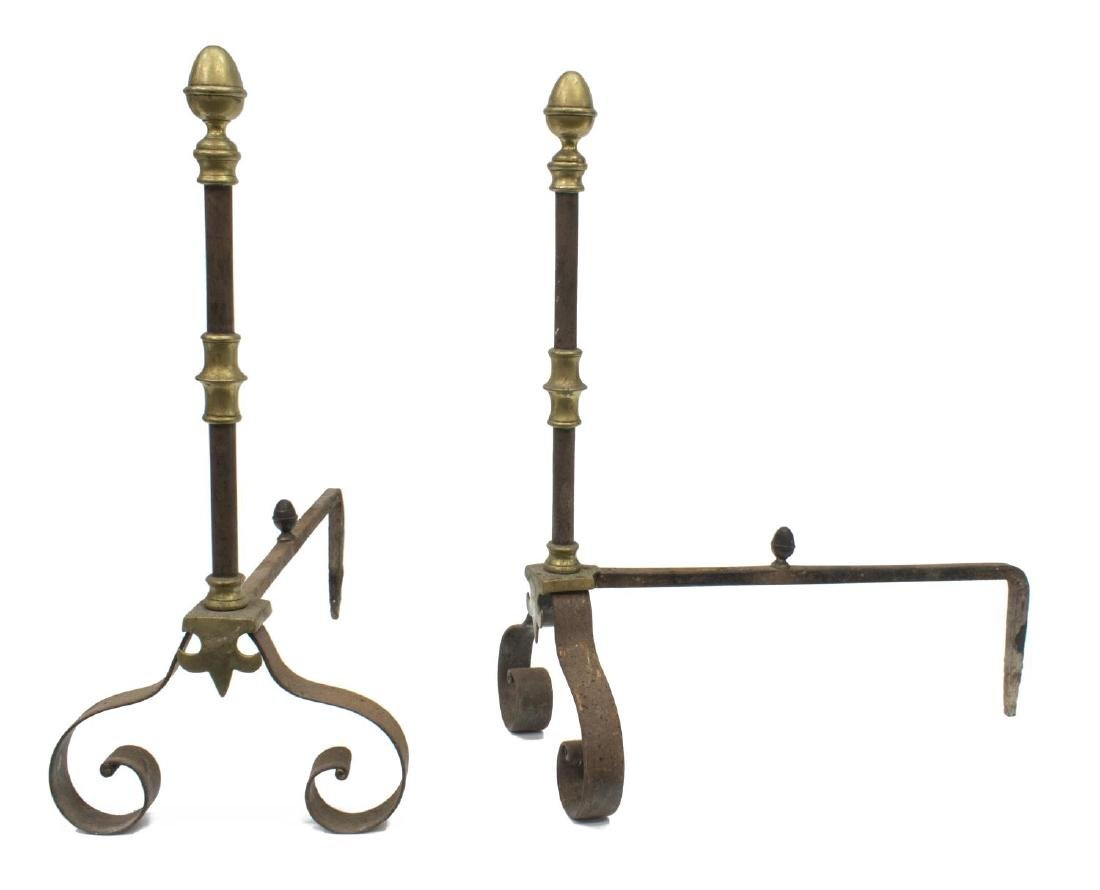ANTIQUE FRENCH GILT METAL & IRON ANDIRONS
