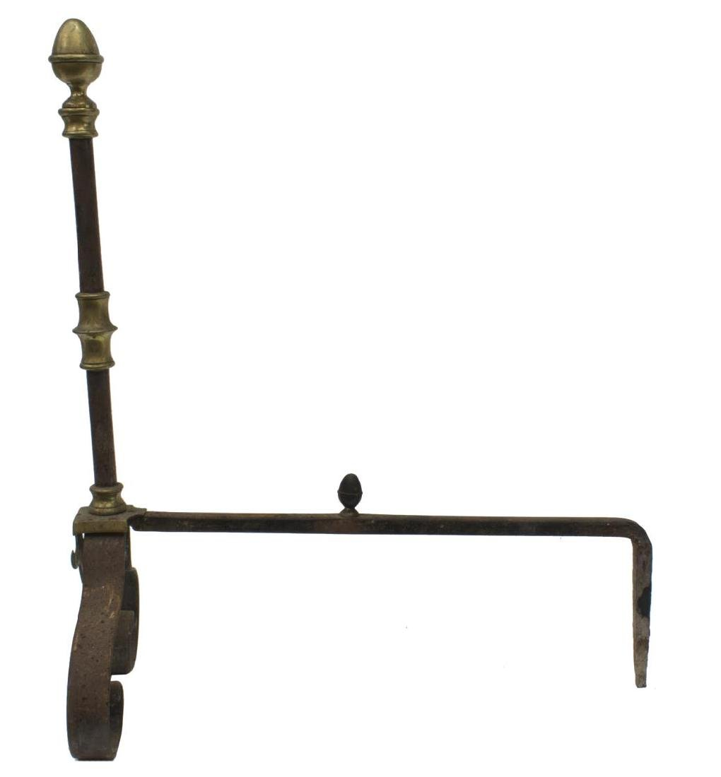 ANTIQUE FRENCH GILT METAL & IRON ANDIRONS - 2
