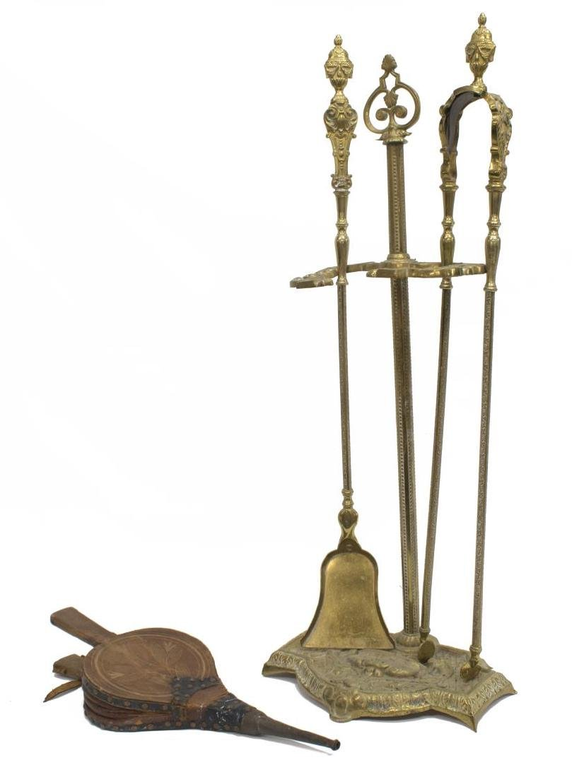 FRENCH BRASS FIREPLACE SET & ANTIQUE BELLOWS - 2