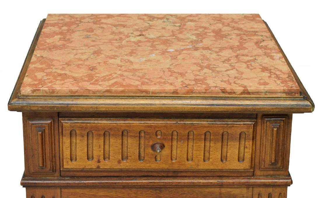 FRENCH LOUIS PHILIPPE STYLE MARBLE TOP NIGHTSTAND - 4