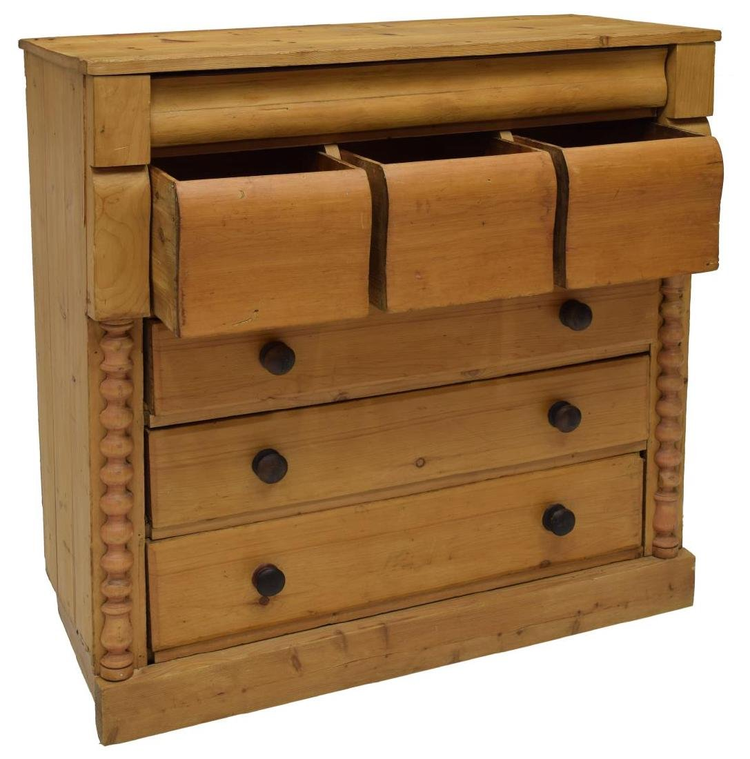 ENGLISH VICTORIAN STRIPPED PINE CHEST - 2