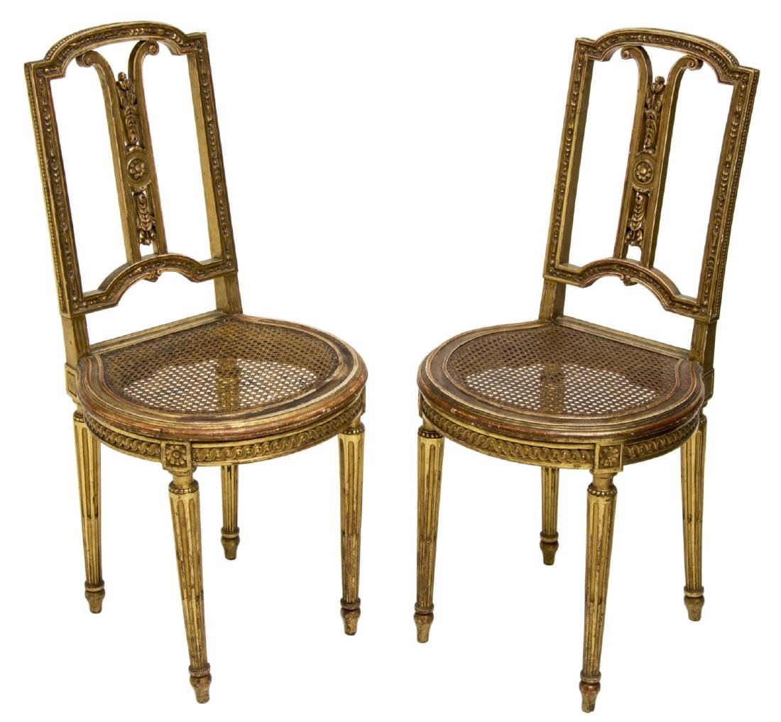 (2) FRENCH LOUIS XVI STYLE GILT WOOD CHAIRS