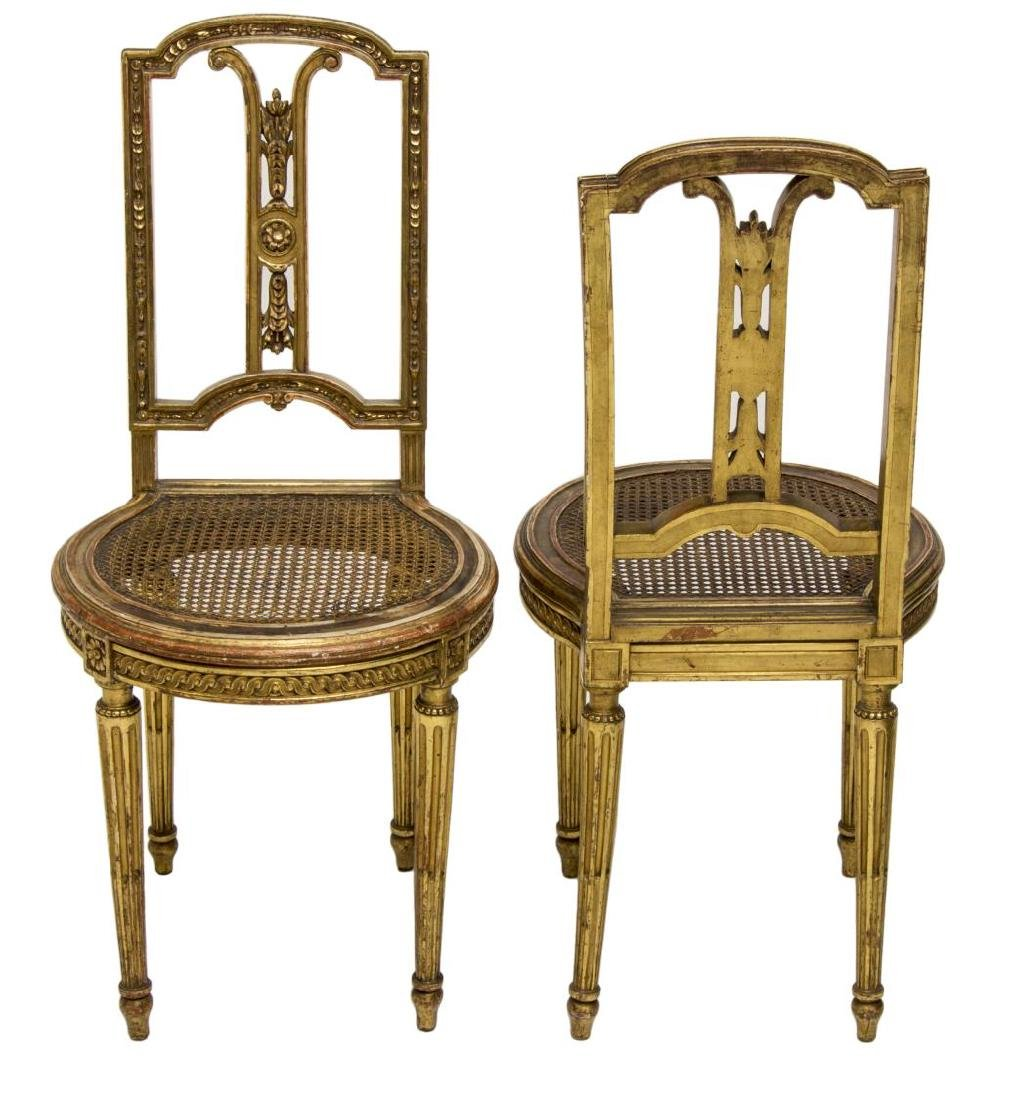 (2) FRENCH LOUIS XVI STYLE GILT WOOD CHAIRS - 2