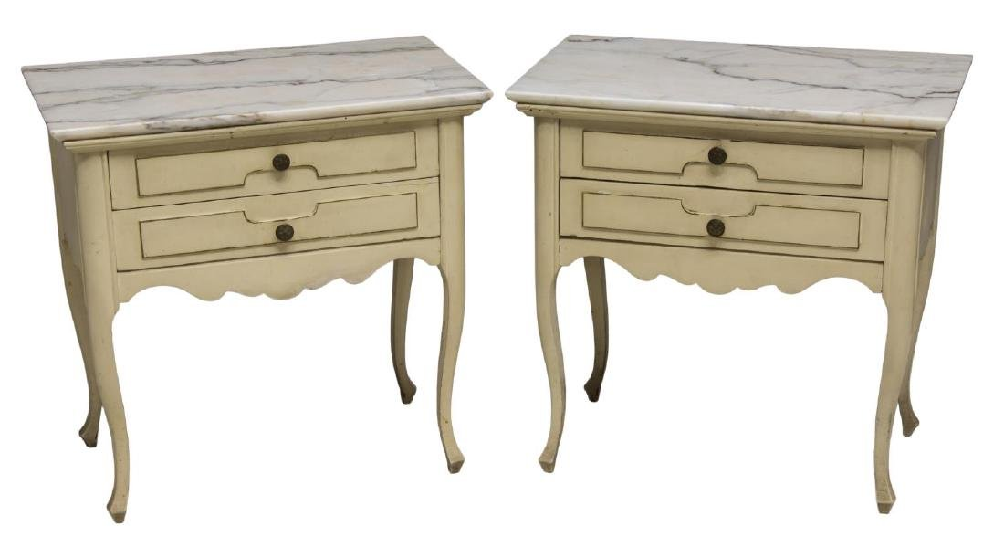 (2)LOUIS XV STYLE PAINTED MARBLE TOP SIDE CABINETS