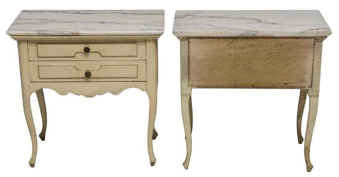 (2)LOUIS XV STYLE PAINTED MARBLE TOP SIDE CABINETS - 2