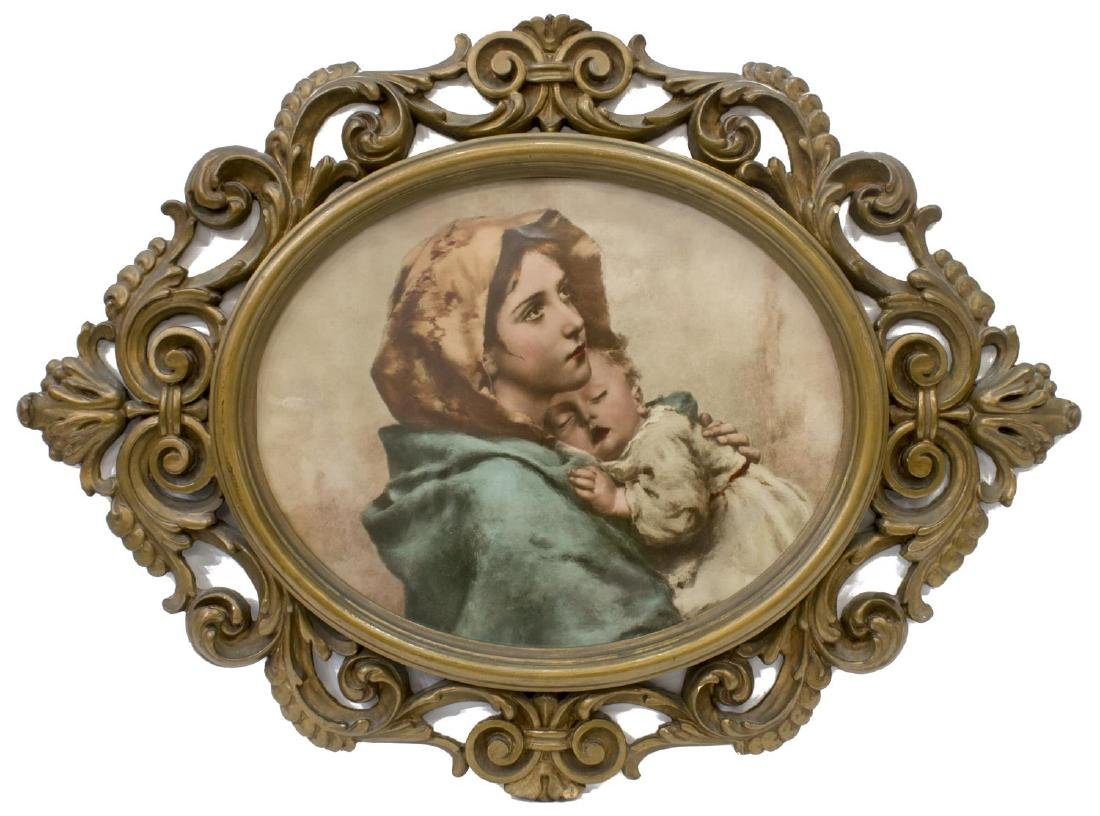 LOUIS XV STYLE GILDED FRAME, PRINT MOTHER & CHILD