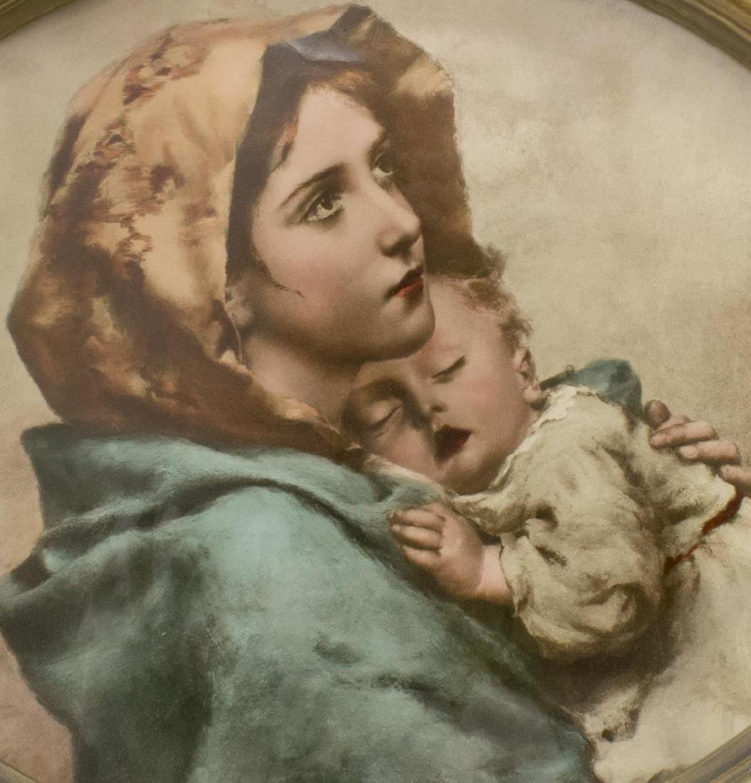 LOUIS XV STYLE GILDED FRAME, PRINT MOTHER & CHILD - 2