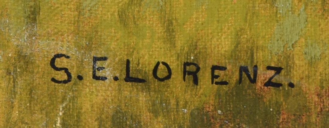 S.E. LORENZ, OIL ON CANVAS, LANDSCAPE WITH COTTAGE - 3