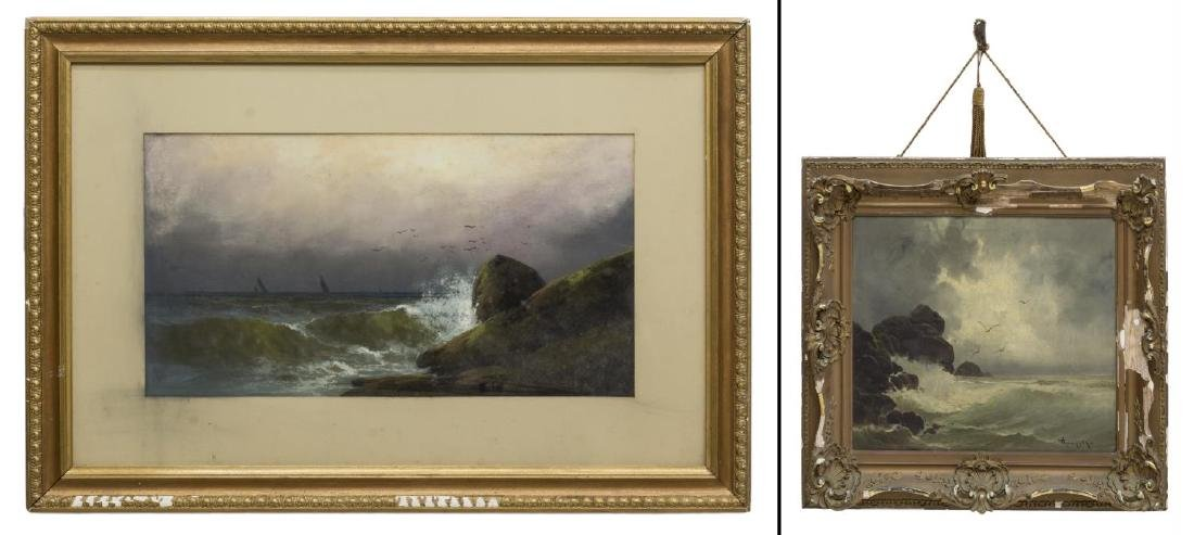 (2) FRAMED OIL & OIL PASTEL PAINTINGS, SEASCAPES