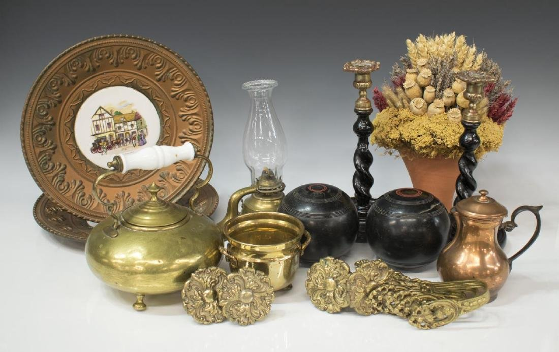 GROUP COLLECTIBLES, CANDLETICKS, BALLS, OIL LAMP
