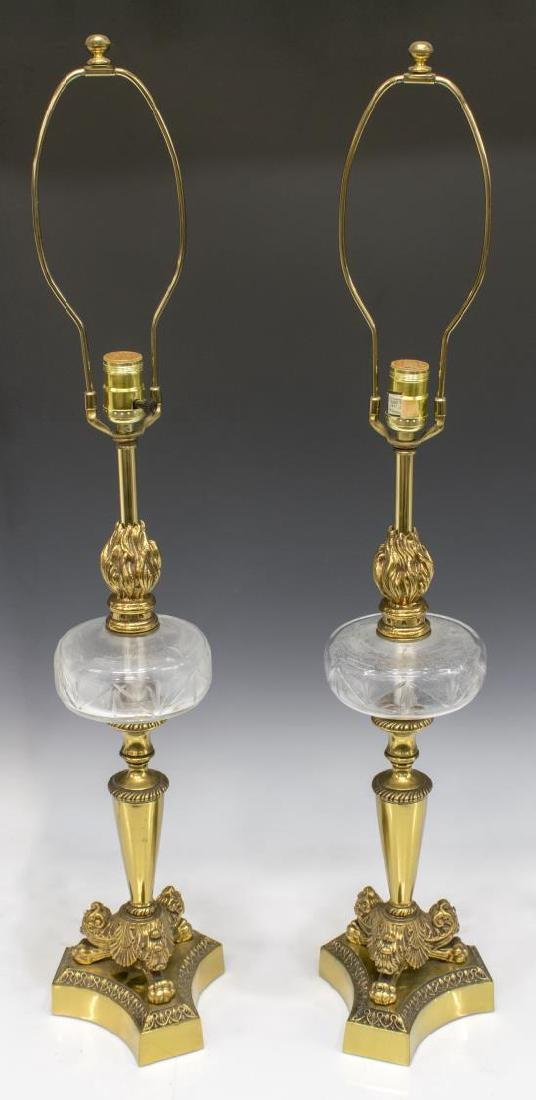 (2) GILT METAL BANQUET STYLE PAW FOOT TABLE LAMPS
