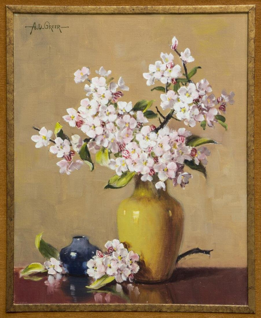 A.D. GREER (1904-1998) FLOWERS IN A VASE PAINTING