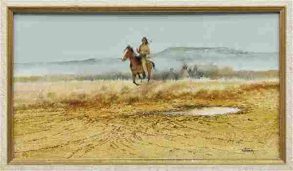 RAUL GUTIERREZ (TEXAS, B. 1935) INDIAN HORSE RIDER