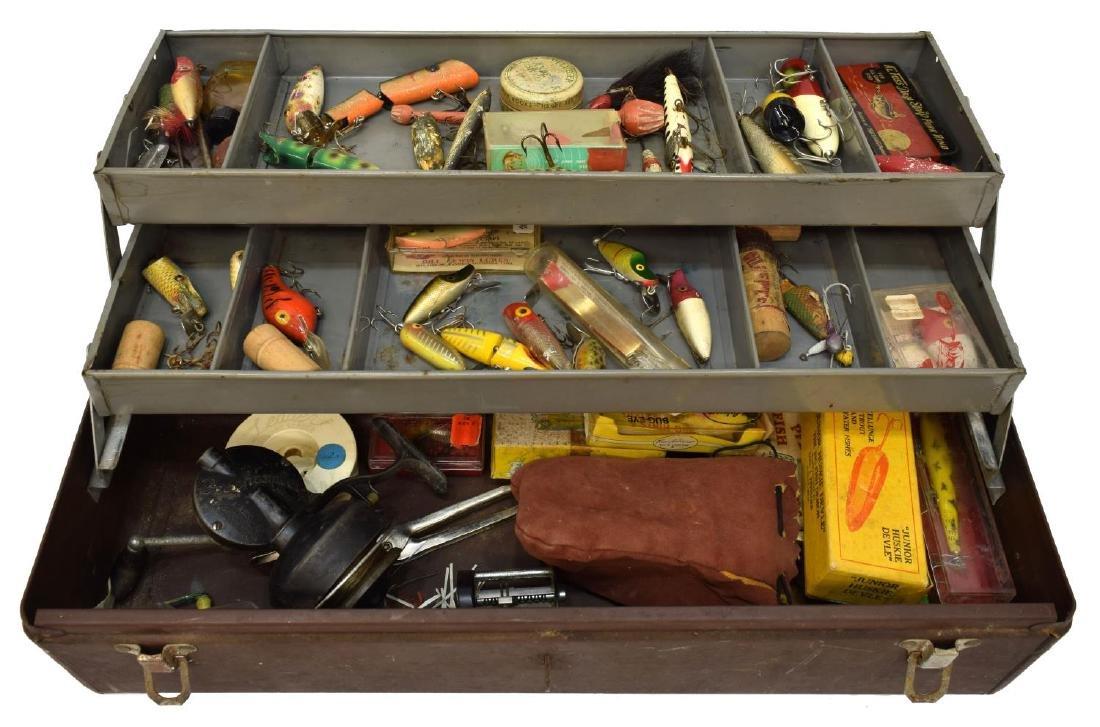 VINTAGE FISHING TACKLE, BOX, 1904 PAT. DATE REEL - 3