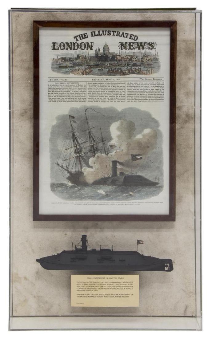 1862 CIVIL WAR ILLUSTRATION & MODEL IRON CLAD SHIP