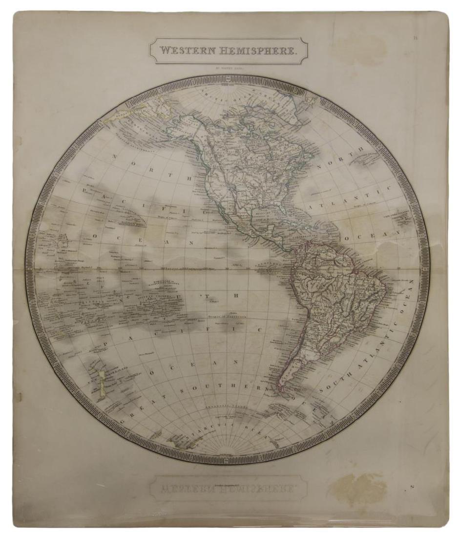 """MAP, """"WESTERN HEMISPHERE"""", SIDNEY HALL, 1829"""