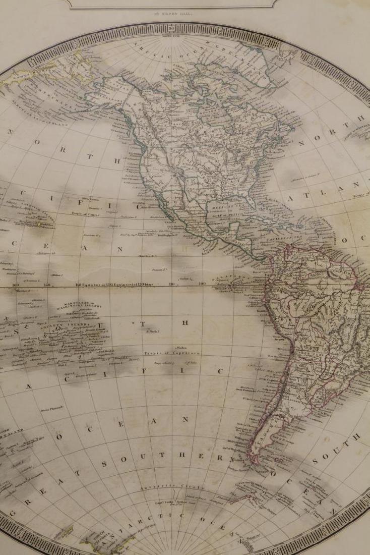 """MAP, """"WESTERN HEMISPHERE"""", SIDNEY HALL, 1829 - 3"""