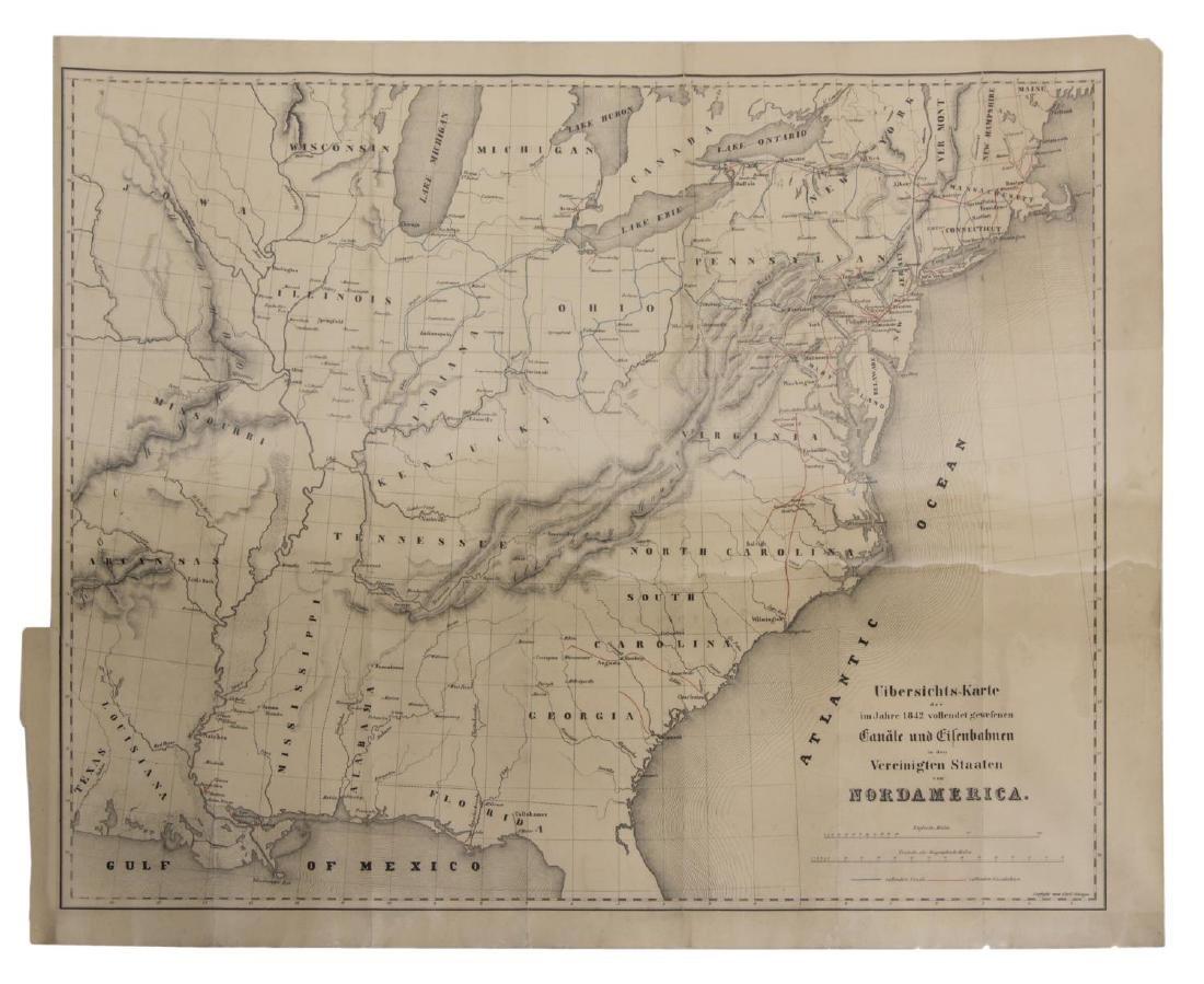 1845 MAP OF NORTH AMERICA, CARLO GHEGA, AUSTRIA