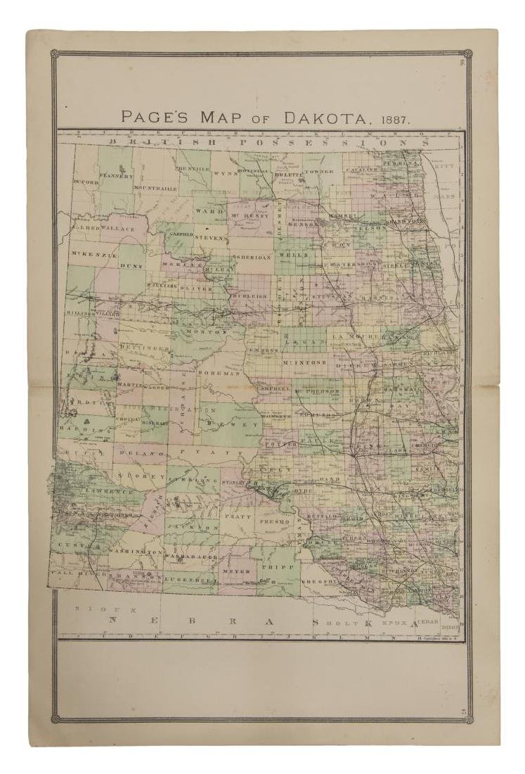 """""""PAGE'S MAP OF DAKOTA, 1887"""", HAND COLORED"""