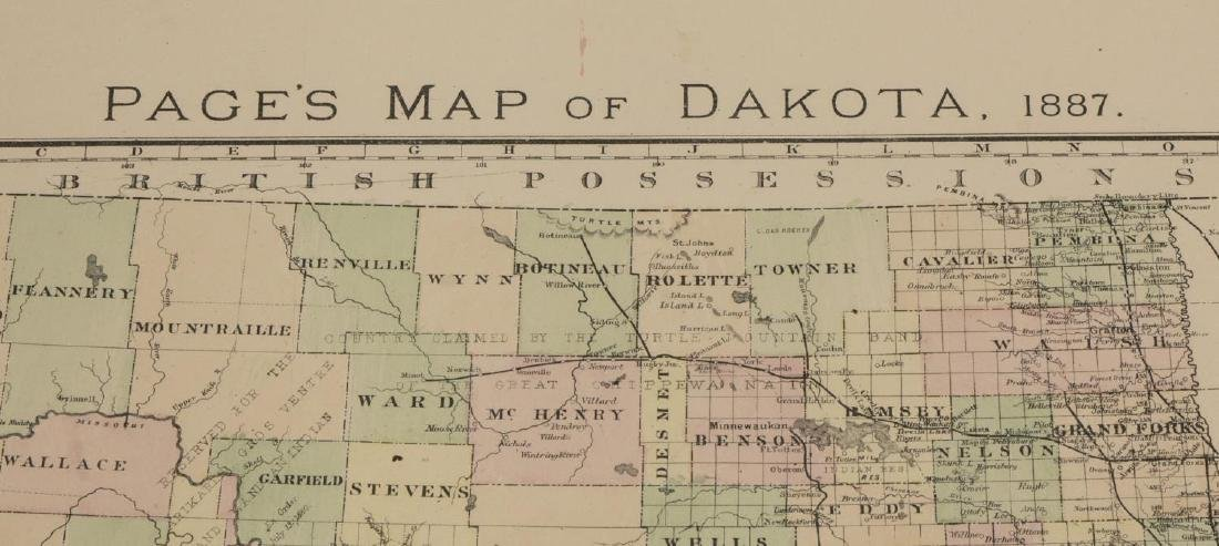 """""""PAGE'S MAP OF DAKOTA, 1887"""", HAND COLORED - 2"""