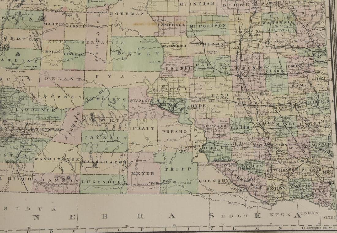 """""""PAGE'S MAP OF DAKOTA, 1887"""", HAND COLORED - 3"""
